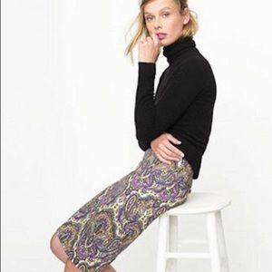 J.Crew Royal Paisley Pencil Skirt